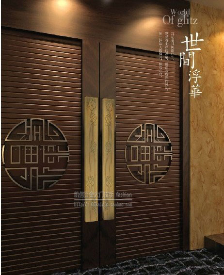 Chinese antique carved lotus bronze glass door handle door handle European style hotel KTV wooden door handle chinese antique handle stainless steel glass door handle door handle door handle european bronze doors push pull