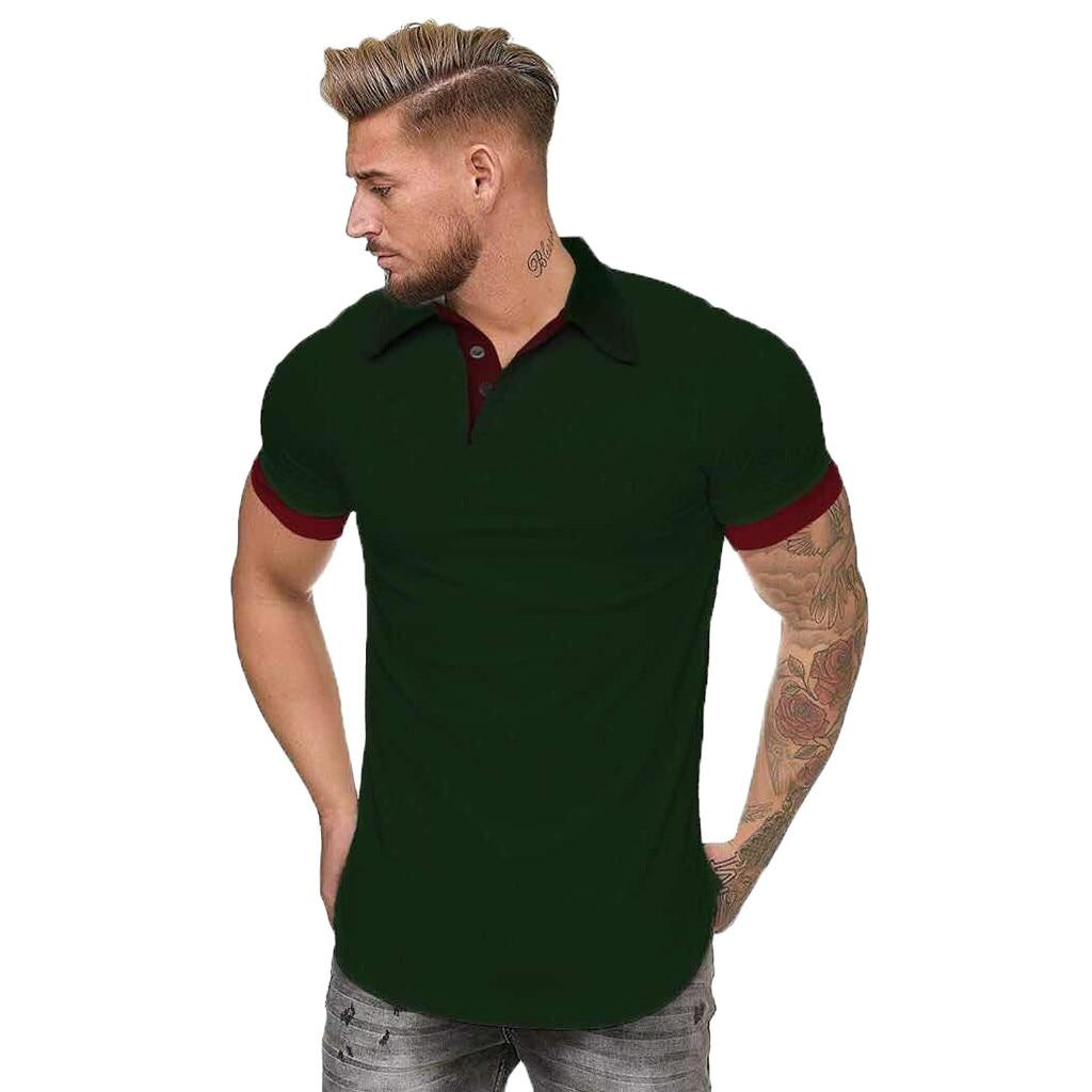 Summer   Polo   Fashion Men's Top Patchwork Camisas De Hombre Mens clothing Double Color Quick-Dry Golf   Polo   Shirt Men
