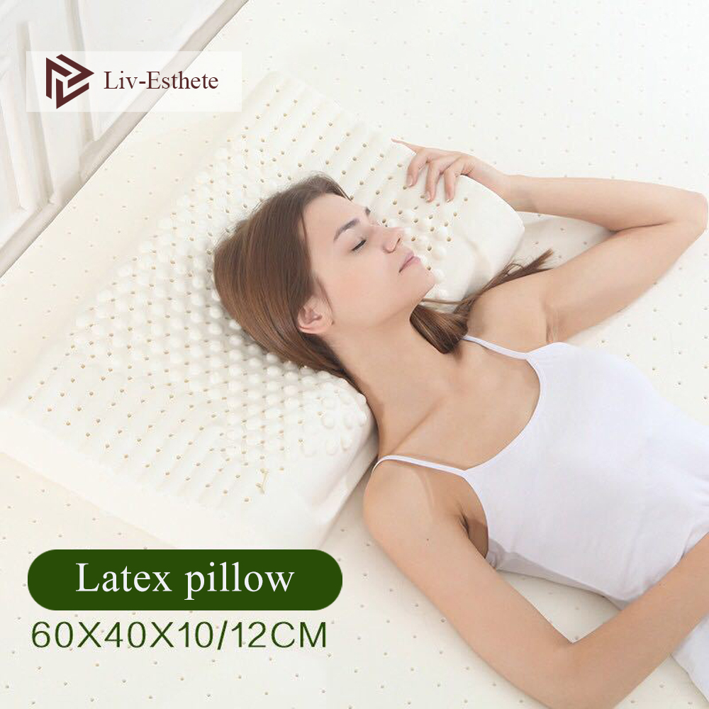 Liv-Esthete Thailand 100% Natural Latex Pillow Remedial Neck Protect Vertebrae Health Sleep Slow Rebound For Side Sleeper