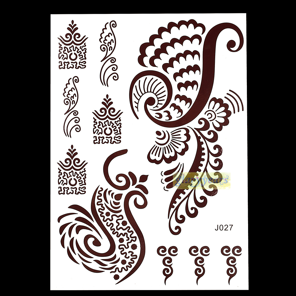 Inflicting Ink Tattoo Henna Themed Tattoos: 1PC Flash Metallic Waterproof Tattoo Women Brown Ink