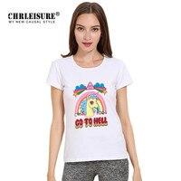 Chrleisure Fashion Unicorn T Shirt Cute Rainbow Horse Go To Hell Letters Print Casual Tee Shirt