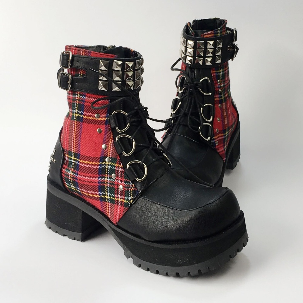 5b7f1f312b4 Classic Black Red Plaids Rivet Gothic Punk Rock Lace up Lolita Ankle Boots  Chunky Heels Thick Platform Punk Lolita Cosplay Boot-in Ankle Boots from  Shoes on ...