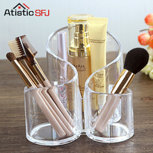 ФОТО 1Pcs 3 Lattice Transparent Acrylic Cosmetics Pencil Case Makeup Organizer Cosmetic Holder Tools Storage Box Brush And Accessory