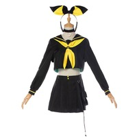 Free Shipping Anime Kagamine Rin Len Couple Serv Cosplay Costume Vocaloid CosplayKagamine Rin Len Cosplay Suit For Halloween
