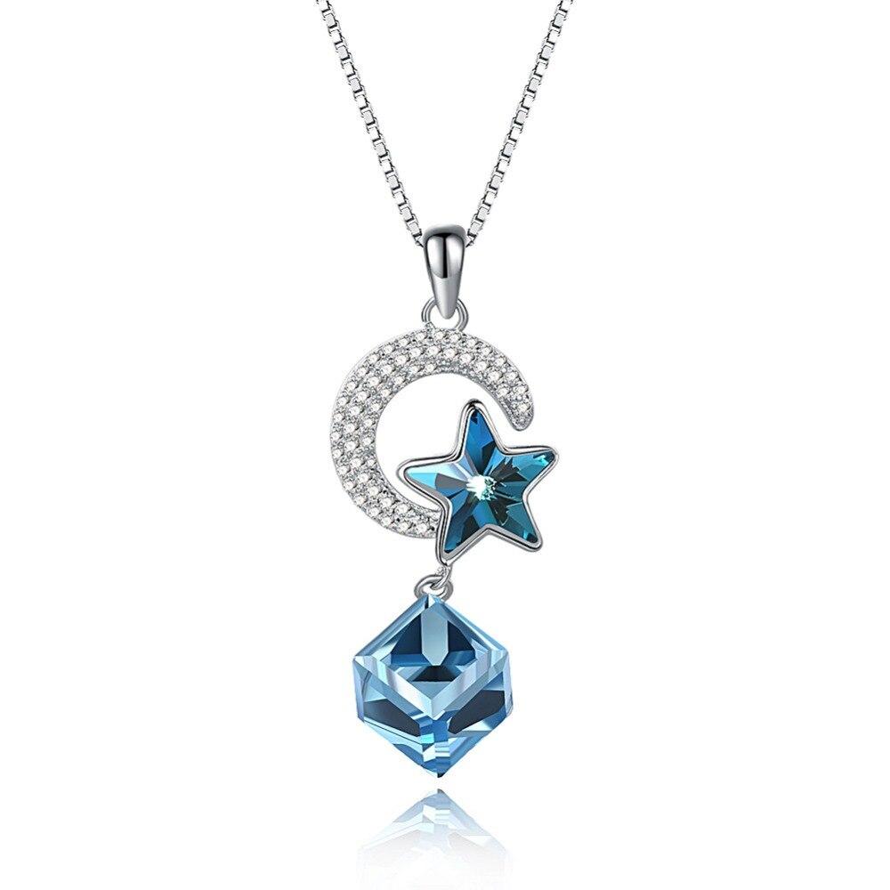 Meilleure Qualité 100% 925 sterling argent D'origine crystaux de swarovski Étoiles Lune Sucre Collier Femme Pour Les Femmes comme cadeaux
