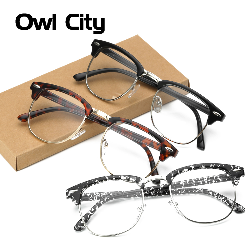 Vintage Style Clear Lens Semi Rimless Eyeglass frames Plain Glasses Men Retro Women Eyeglasses Optical Frame