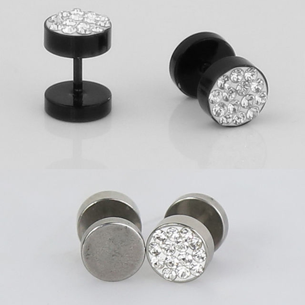 High Quality 2pcs Black Silver Color Stainless Steel Fake Cheater Ear Plugs  Gauge Body Jewelry Pierceing