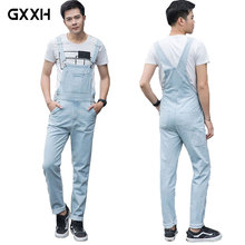 2018 Spring New Light Blue White Men's Denim Jumper Pants Men's Slim Straight Slings Oversized Denim Workwear Size S-3XL 4XL 5XL