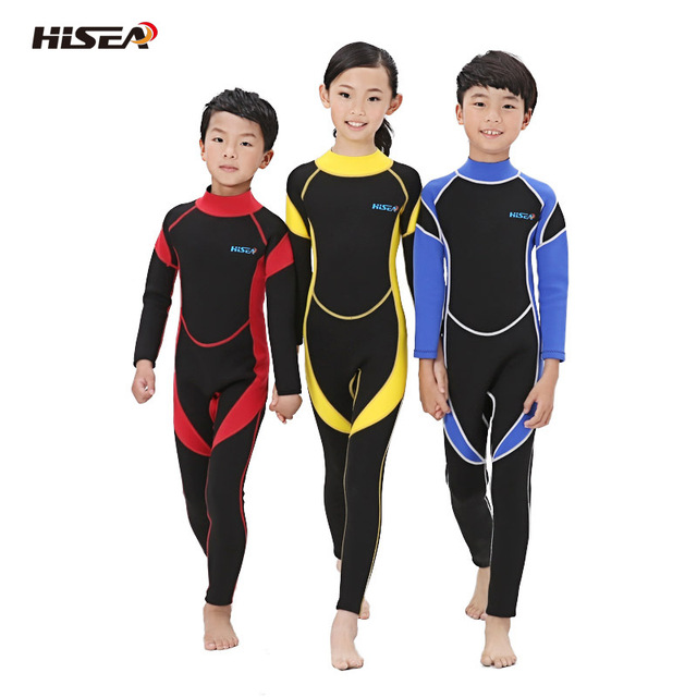 228ea3cd36 Hisea wetsuits kids 3 2mm neoprene boys girls wetsuit full body Surfing  Snorkling Spring swimming suit