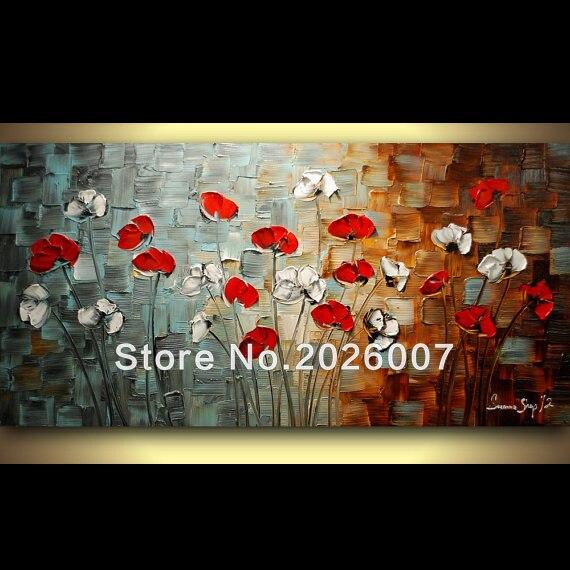 Yüksək keyfiyyətli Ağ Qırmızı Poppies Əl Boyalı Palitrası - Ev dekoru - Fotoqrafiya 1