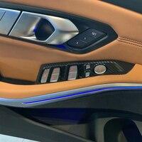 LHD! BMW 3 시리즈 G20 2019 2020 카본 스타일 자동차 도어 윈도우 스위치 버튼 프레임 장식 커버 트림 카 스타일링