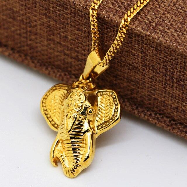 Elefante de oro collar colgante de Hiphop de Moda de Alta Calidad chapado en Oro 60 CM collar llamativo cadena de Oro joyería de los hombres 2017