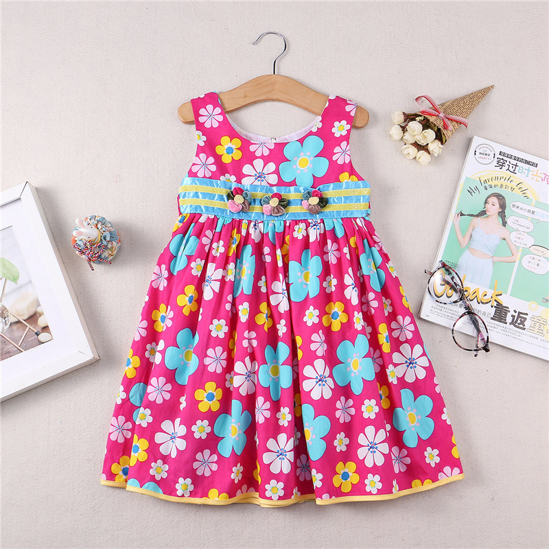 Girls cotton flower dress princess dress New arrive Spring and summer girls wear clothing birthday party dress мужские часы q and q q468 j404