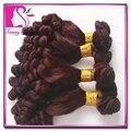Popular Funmi pelo negro Women 4 Bundles barato grado 8A Color # 99j borgoña sin procesar de la virgen Bouncy rizado armadura del pelo humano