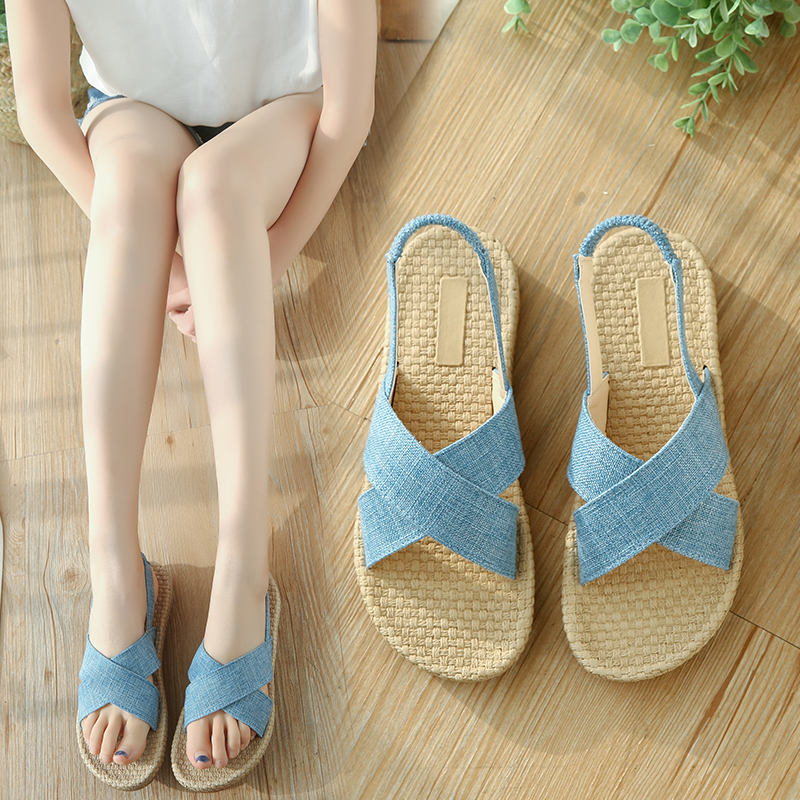 Women Shoes Sandals New 2018 Summer Comfort linen canvas Female Casual Sandals Peep-toe Flat Open Toe Shoes lypo women sandals 2018 new flat bottom open toe bow candy color sandals casual crystal jelly shoes women breathable flat shoes