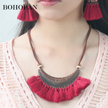 Bohemia Tassel Necklace For Women Crescent Shape Metal Cotton Big Pendants & Necklaces Vintage Collares Fashion Jewelry