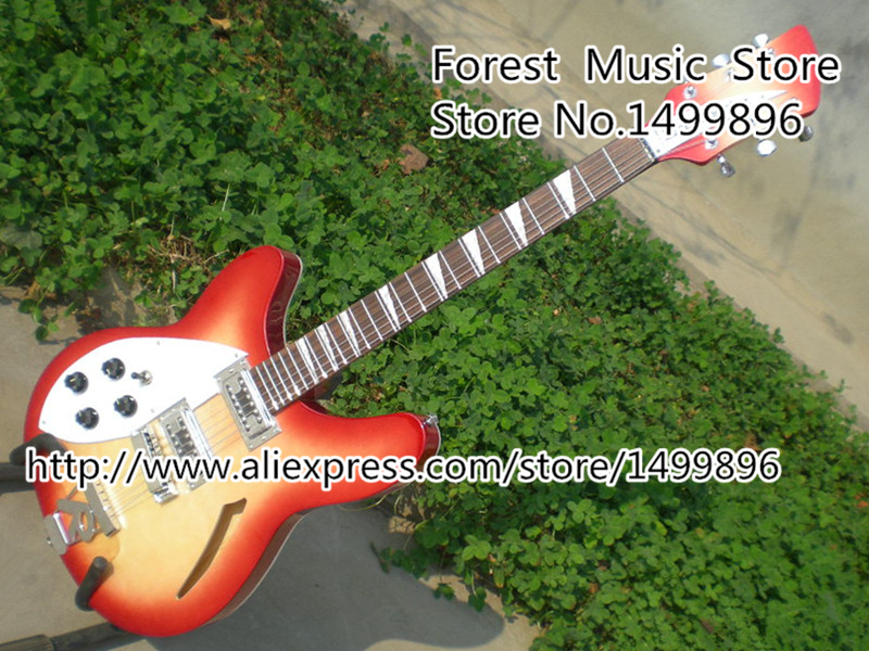 Custom Classic Lefty Suneye Rick Electric Guitar In Cherry Sunburst China Holow Guitarra Body & Kits Custom Available
