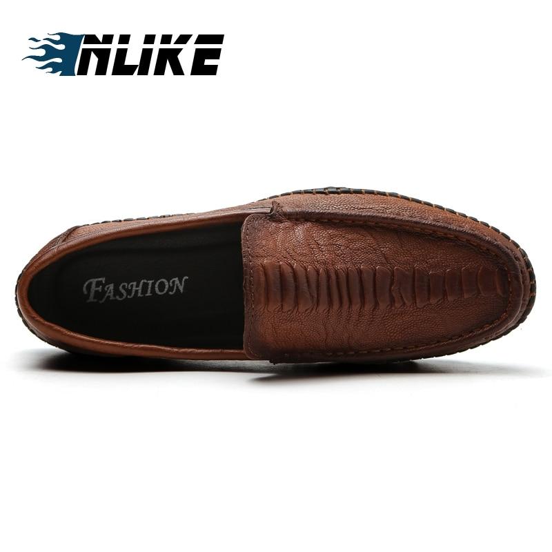 Inlike Mocassins On Dos Casuais Preguiçosos brown Doug Condução Preto Couro branco Luxo Sapatos De Genuíno Homens Slip rrOHxz