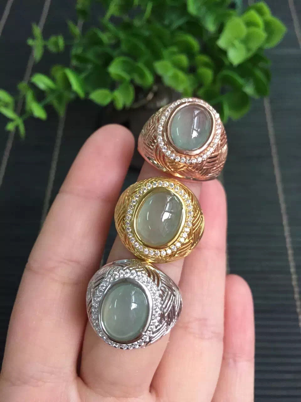 10*12mm natural oil icy green jade ring for men with certification