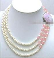 Free Shipping >> new HOT SALE 6 7mm White natural FW flat Pearl 3 Strands neckalce pink beauty Clasp