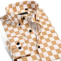Men S Checkerboard Print Dress Shirt Long Sleeve Comfortable Soft Smart Casual Slim Fit Button Down