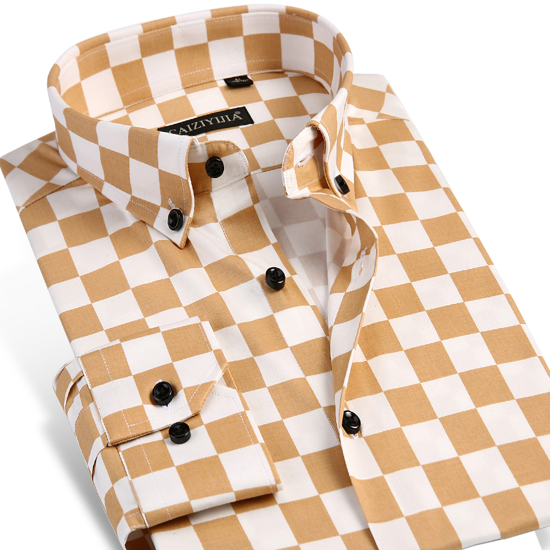 Men's Checkerboard Print Dress Shirt Long-sleeve Comfortable Soft Smart Casual Slim-fit Button-Down Contrast Color Plaid Shirts