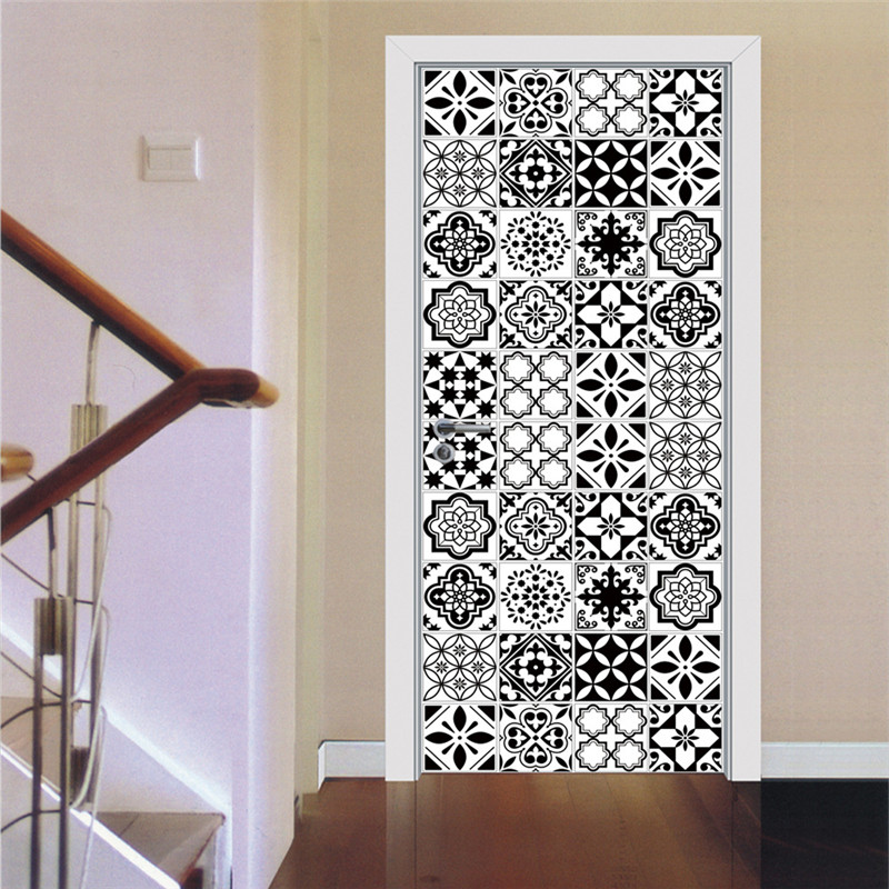 Black And White Pattern Door Sticker 3D Wooden Door Home Decoration Ceramic Tile Wall Sticker Self Adhesive