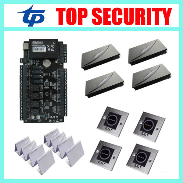 ZK teco C3-400 4 doors access control system access control panel with 4pcs KR100E RFID card reader, 4pcs infrared exit button linux system one door c3 100 access control panel with wiegand interface kr102 rfid card reader no touch infrared exit button