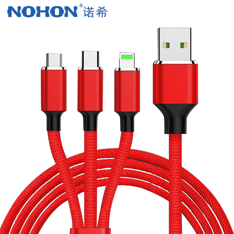NOHON 3 in 1 Micro USB Type C Cable For Samsung S8 Xiaomi 4 LG Lighting 8 Pin For iPhone 7 8 Plus X Phone Charging Cables 1.2/2M Mobile Phone Cables     - AliExpress