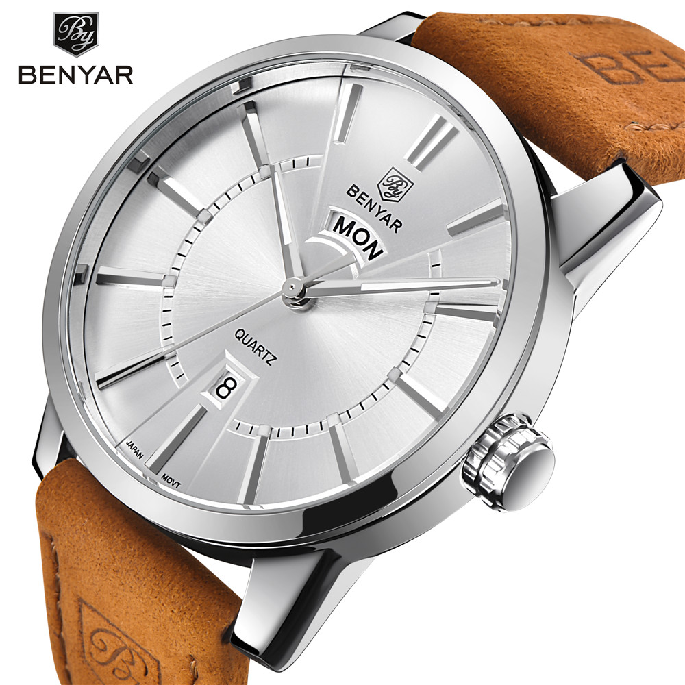 Mens BENYAR Luxury Brand Quartz Watches Men Double Calendar Waterproof Watch Male Fashion Casual Business Clock Relojes Hombre