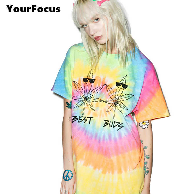 11fa99a8927 2018 harajuku shirt rock hiphop hippie tops multicolored funny cool leaves t  shirt handmade tie-