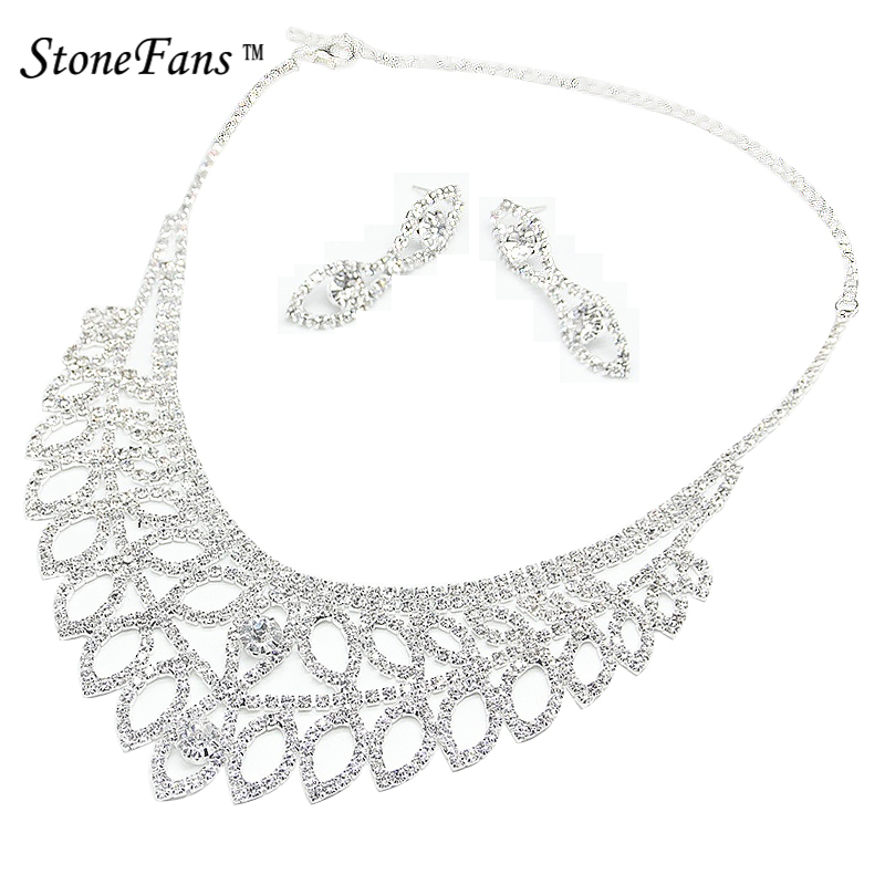 StoneFans Glass Rhinestone Leaves Leaf Plant Necklace Prom Necklace Set For Party Necklace Sets For Women Pendant Amazon XL041