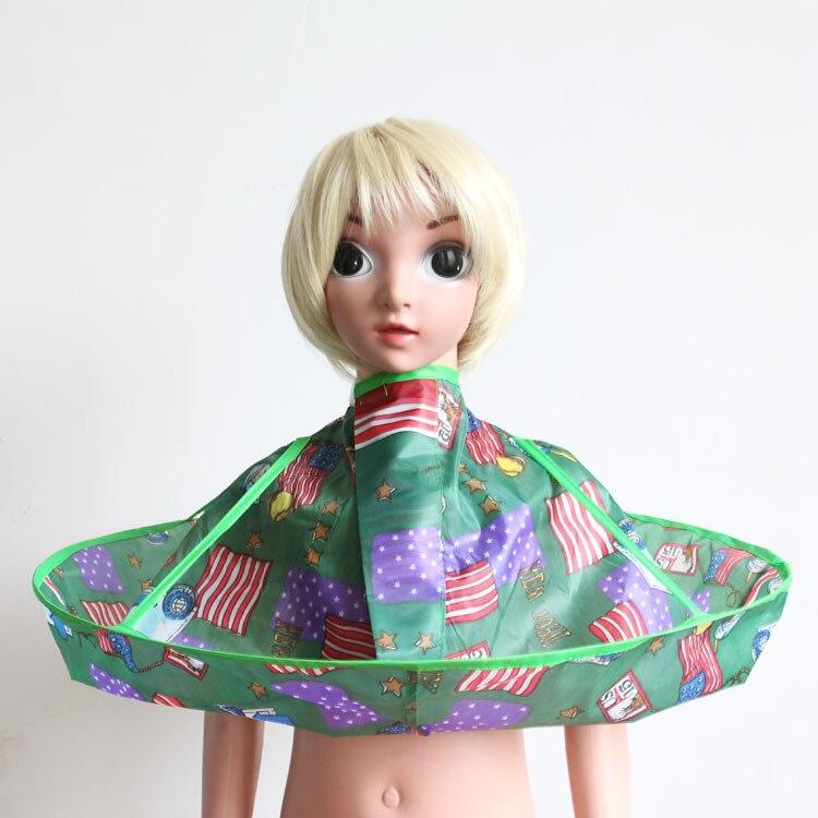 Плащ для стрижки волос накидка-зонтик салон водонепроницаемый детский домашний парикмахерский для детского парикмахера дизайн платья парикмахеров - Цвет: Stripe Flag