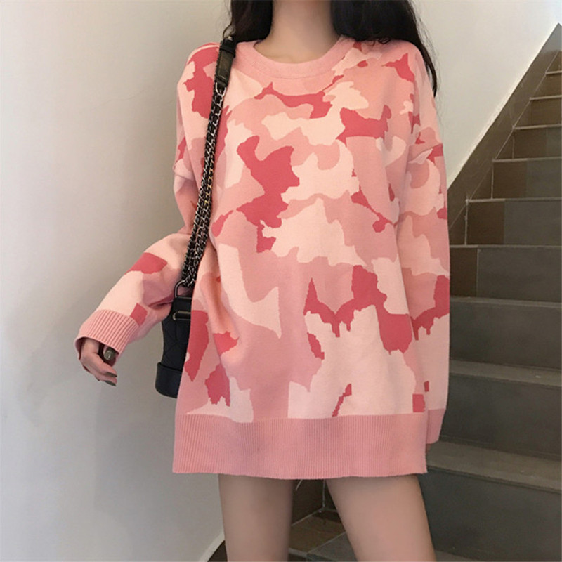 Winter Women Pullover Sweaters 2018 New Round Neck Knitted Sweater Camouflage Loose Tops Female Knit Sweater Pullover Autumn 558