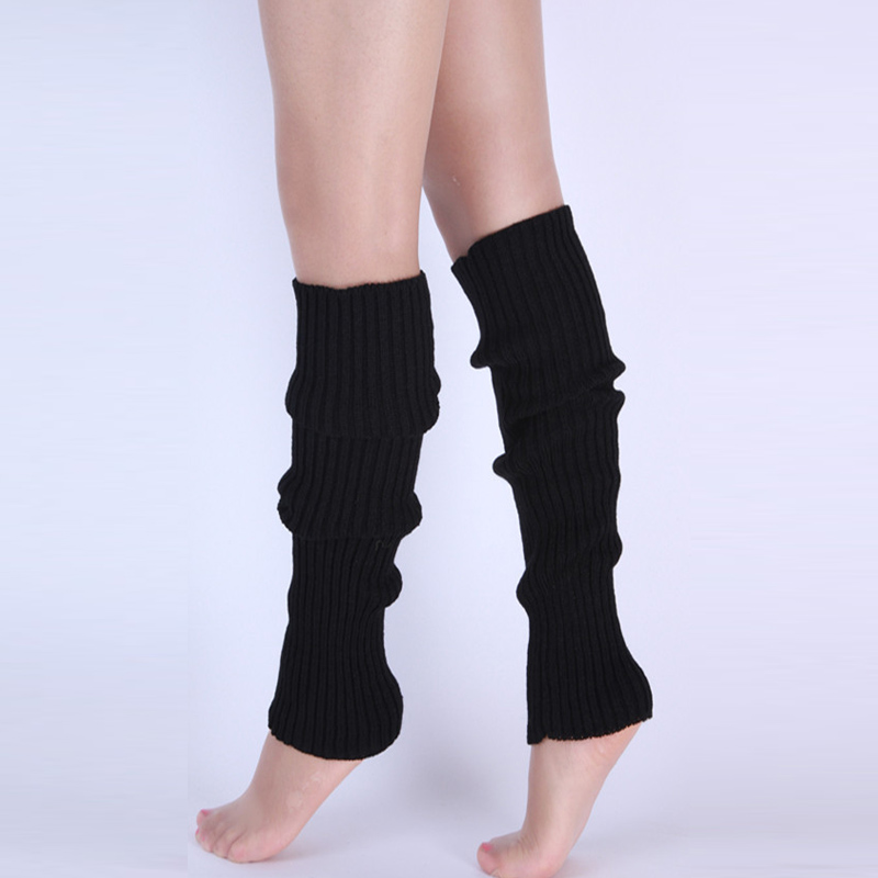 Winter Warm Women Plain Knitted Leg Warmers Stocking Finger Less Long Gloves Neon Solid Pure Color