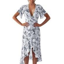 2019 Women Irregular Dress Floral Printed Bohemian Summer Beach Party Long Dresses