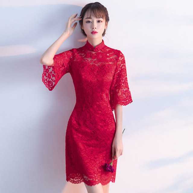 Aliexpress.com : Buy Red Wine Lace Chinese Traditional Evening Dress ...