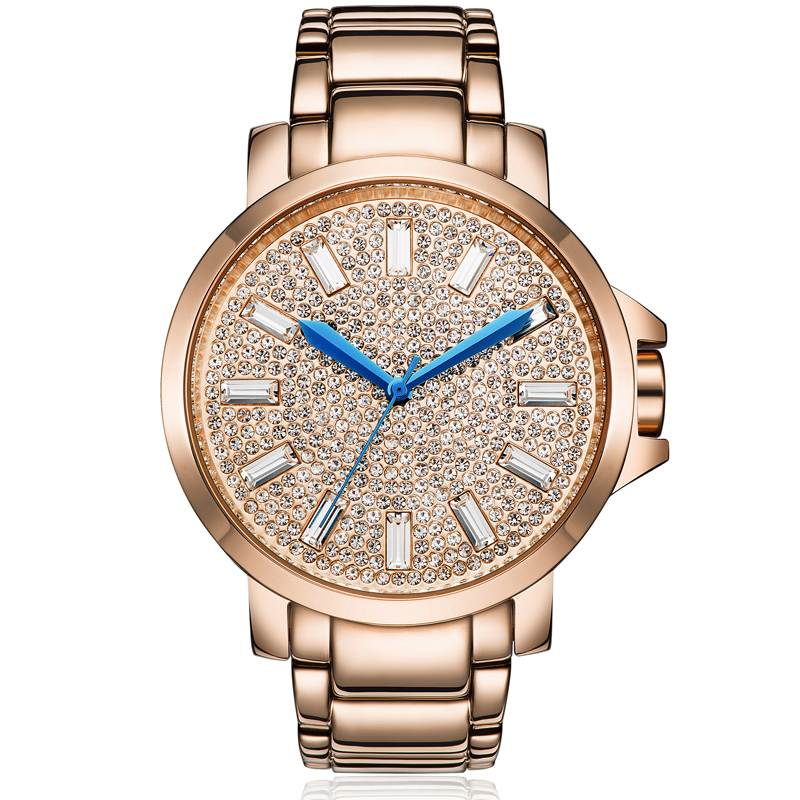 Rose Gold Full Diamond Watch Female Luxury Quartz Watch Woman Big Dial Fashion Watches Top Brand Ladies Waterproof Clock Steel burei woman watch top fashion brand female clock diamond sapphire mechanical wristwatches gold steel band waterproof watches hot