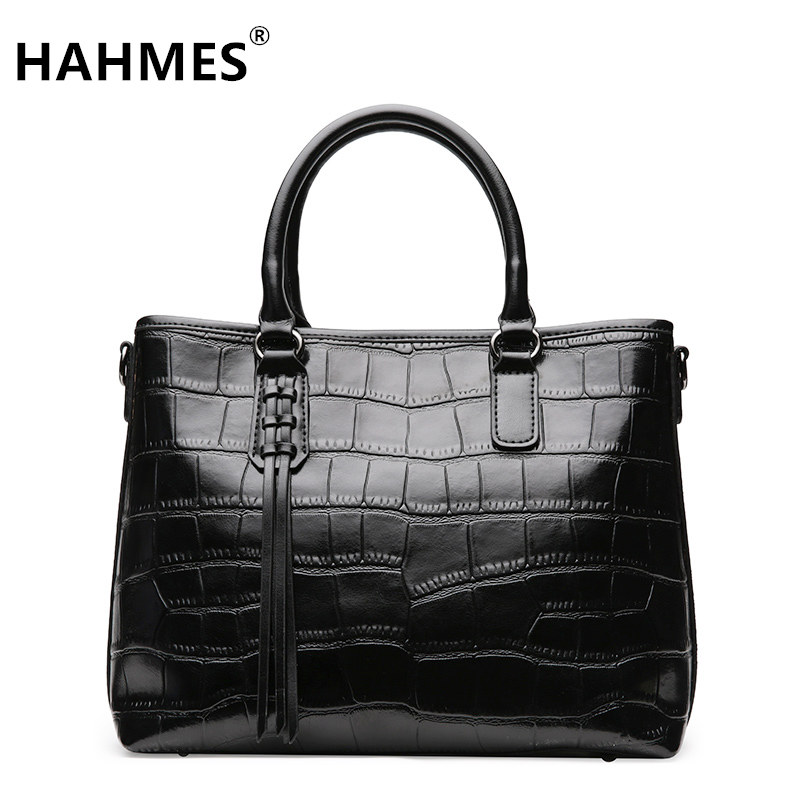 HAHMES 100% Genuine Leather Women Bag Crocodile pattern Fashion handbag female real cow leather shoulder bag 34cm 10909# hahmes 100