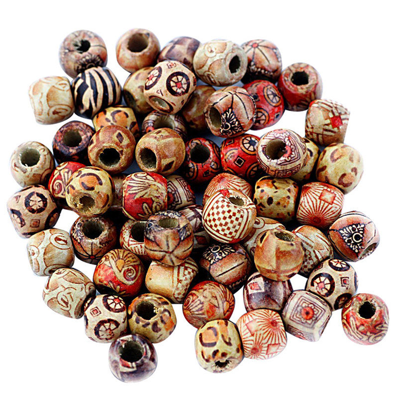 100pcs set wood painting beads diy arts and crafts for Wooden craft supplies online