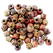 Cute Multipurpose Painted Wood Beads Set for DIY Craft