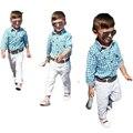 Детская одежда устанавливает джентльмен весна осень хлопок повседневная полосой плед рубашки + длинные брюки + ремень мальчиков 3 шт наборы свободный корабль