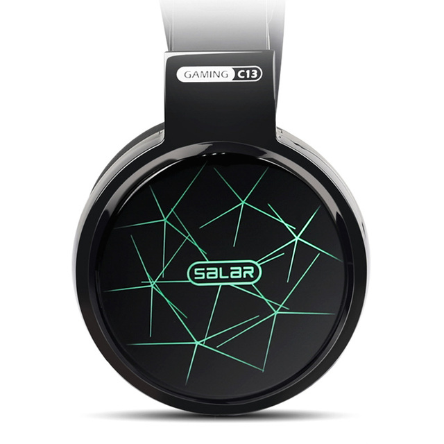 Salar C13 Gaming Big Headset Wired Headband with Mic/LED Light Over Ear 4