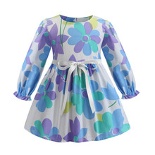 Long Sleeve Toddler Girl Dress Plaid Floral Dresses for Girls 2019 Spring Autumn Princess Girl Clothes Children Clothing 2-8 T недорго, оригинальная цена