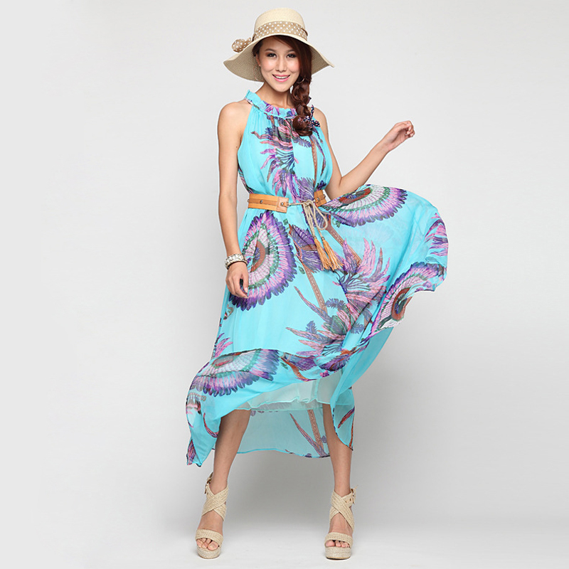 300d7f5bcb Bohemia Dress Summer 2015 Women Plus Size Clothing 6XL 5XL 4XL Ladies  Printed Long Yellow Blue A-line Chiffon Beach Maxi Dresses