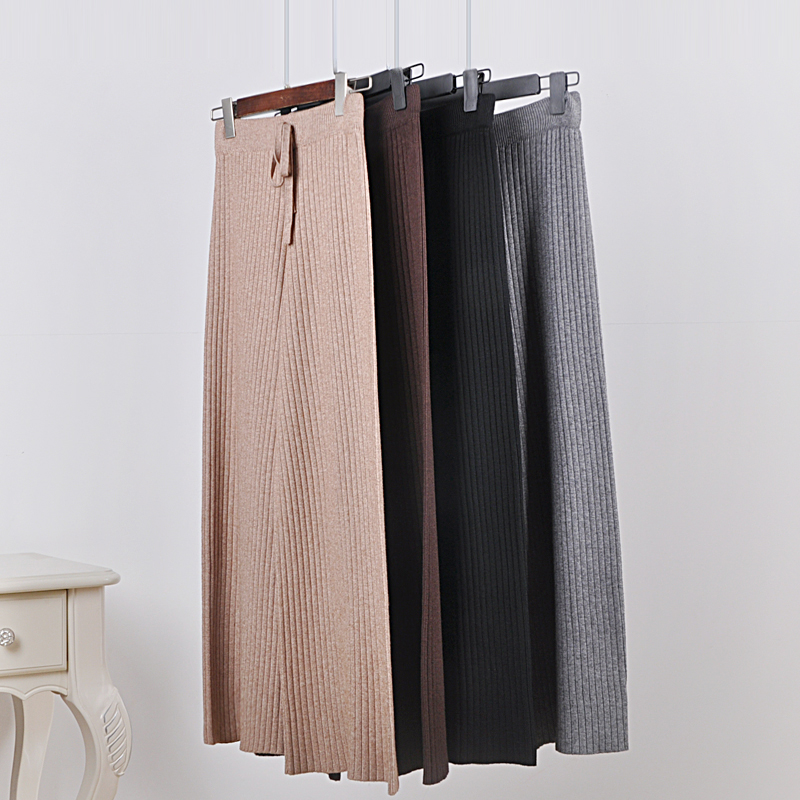 Thin section knitted   wide     leg     pants   female 2018 summer Korean loose high waist casual   pants   trousers   pant