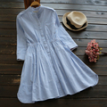 Blue and white stripes stand collar Three quarter sleeve mori girl dress mori girl 2016 summer