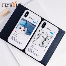 FLYKYLIN Cute Cat Dog Phone Case For iPhone X 6S 6 7 8 Plus Cover Instagram Popular Couples Cases Slim Soft TPU Silicone Coque