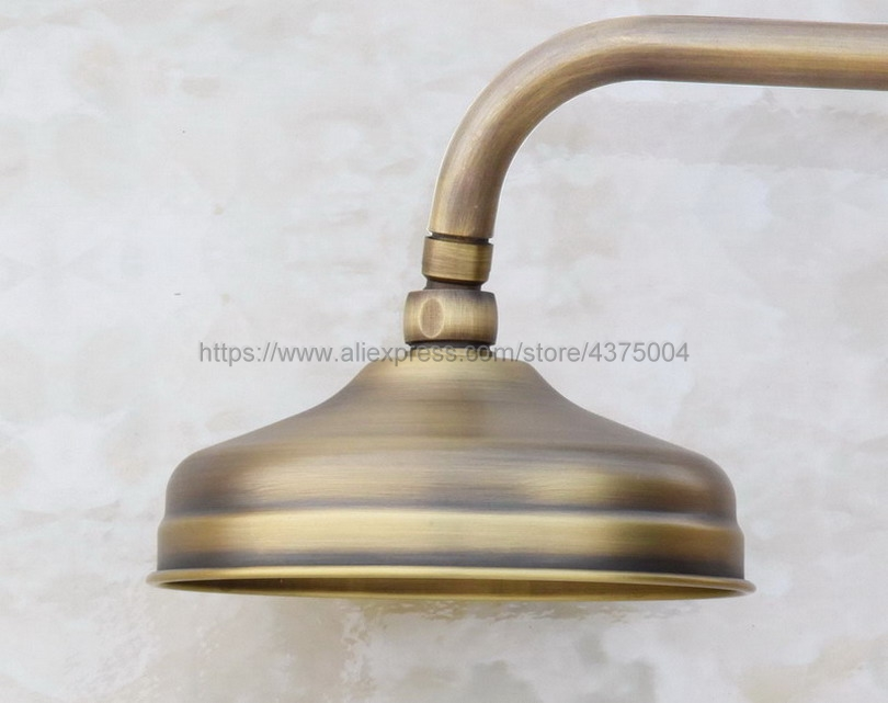 Antique Brass Round 8 Inch Rainfall Shower Head & Extension Pipe Wall Arm Shower Arm Bathroom Accessory (Standard 1/2