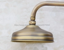 Antique Brass Round 8 Inch Rainfall Shower Head & Extension Pipe Wall Arm Bathroom Accessory (Standard 1/2) Nsh052